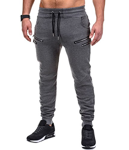 BetterStylz SaschaBZ Jogginghose Zip Slim Fit Sweatpants Jogger Fitness Trainingshose Paris Style div. Farben (S-XXL) (Small, Dunkel Grau/Schwarz)