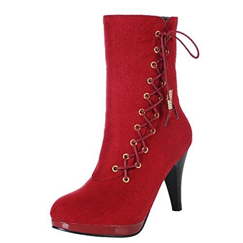 Damen Halbschaft Stiefel Stiletto Rund Reißverschluss Schnürsenkel Sexy Klub Mittelhoch High Heels Warm gefüttert Plattform Rot