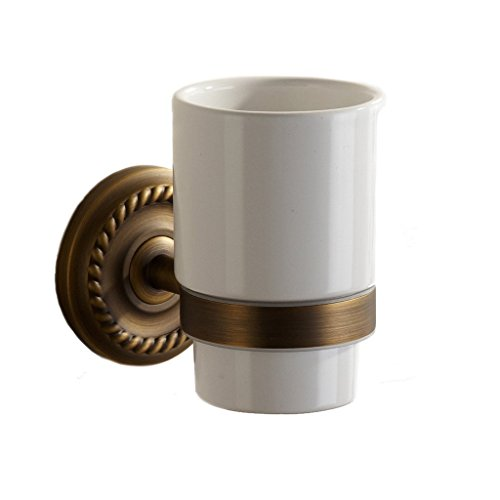 Weare Home Retro Zahnbürste Keramik Becher Becherhalter, Antik geschnitzten Messing Wandmontage Stange, Bad Accessoires -