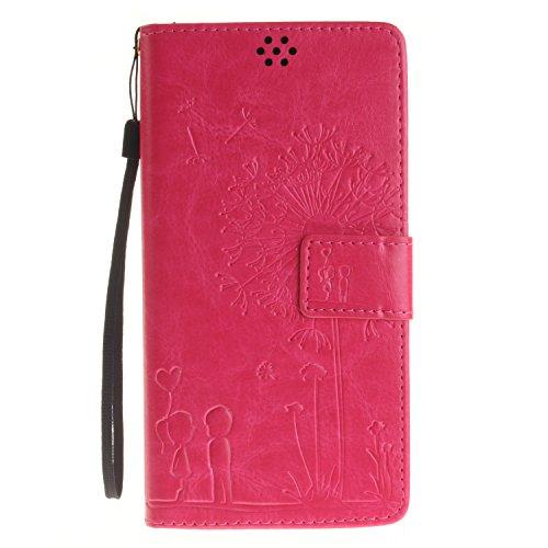 Qiaogle Teléfono Case - Funda de PU Cuero Billetera Clamshell Carcasa Cover para Lenovo K3 Note A7000 / K50-t5 4G LTE (5.5 Pulgadas) - TX25 / Romántico Diente de león (Rose)