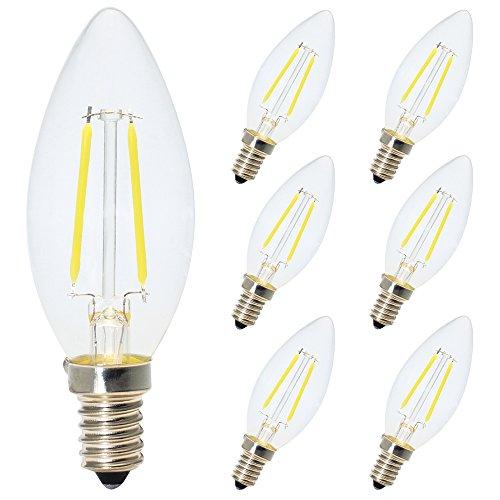 6X E14 LED Kerzenform Filament E14 Classic Glühfaden 2W 15 Watt-Ersatz, LED Kerzen Lampe Kaltweiss 6000K