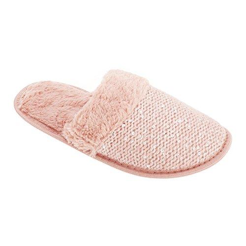 Slumberzzz - Pantofole con pelo sintetico - Donna Rosa polvere
