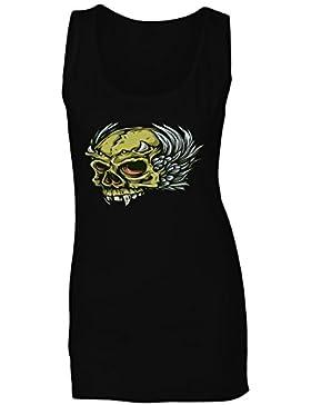 Arte del vintage de la novedad del demonio del diablo del cráneo camiseta sin mangas mujer pp46ft
