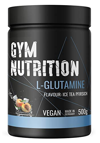 GYM-NUTRITION® - L-GLUTAMIN Ultrapure Pulver - extra hochdosiert & 99,5 % rein - proteinogene Alpha-Aminosäure, vegan - ideal für Body-Builder - Made in Germany - 500-g, Geschmack: ICE-TEA PEACH -