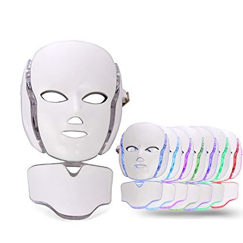 SWQA 7 Farbe LED Photon Gesichts Hals Maske Mikro-Strom Löschen Falten Akne Haut Verjüngung Gesicht Schönheit Maschine -