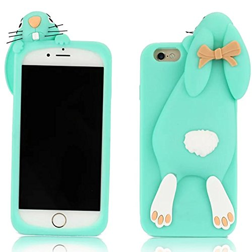 "Sunroyal 3D Fashion Case Cute Funny Süße Silikon Schutzhülle Buck Teeth Bunny Rabbit Soft Weichem Handy Tasche für Apple iPhone 6 Plus iPhone 6S Plus (5.5"") Karikatur Cartoon Zubehör Set Handyhülle Et Pattern 01"