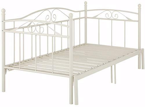 Loft24 Florenz Metallbett 90x200 cm Tagesbett ausziehbar auf 180x200 cm Ausziehbett Kinderbett Bettgestell Metall Gästebett Couchbett (weiß)