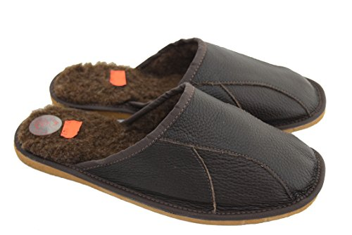 Mens pelle naturale e rivestimento sul Sheep's-Pantofole da donna in lana Brown / brown wool