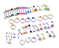 IPINK 30 Piercing Kit Lot of Belly Ring,Labret,Tongue Ring,Eyebrow Ring,Tragus and Barbells Mix 14G,16G