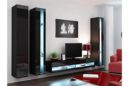 Chloe Design Ensemble Meuble TV Mural ALARMO - Noir