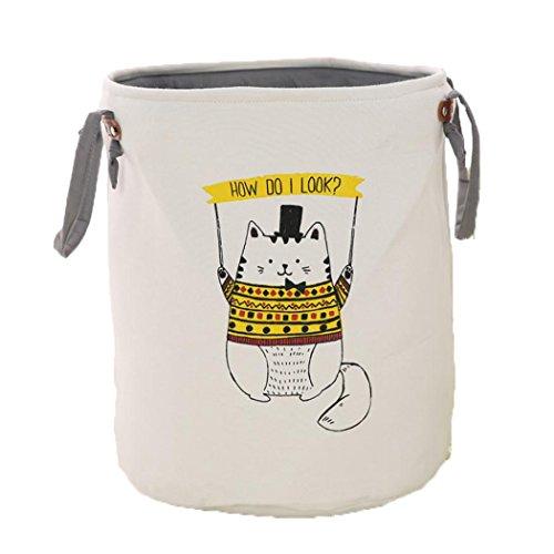 Aufbewahrung Eimer Reinigungstuch rund Dirty Drums Haushalt Kinder 'S Toys Aufbewahrungskorb, zusammenklappbar Korb, Yellow Cat, 35*40cm (Cat Toy Storage)