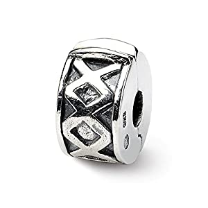 Black Bow Jewellery Company Scharnier X Clip Charm in Silber für 3 mm Charm-Armbänder