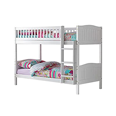 3ft Single Wooden Rosa Bunk Bed in White - inexpensive UK light shop.