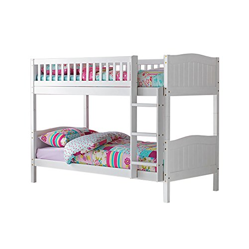 3ft Single Wooden Rosa Bunk Bed in White with 2 Standard Matresses