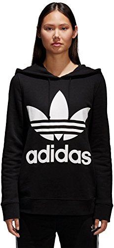 Adidas - Felpa da donna con cappuccio, multicolore, con logo con trifoglio Adidas Black