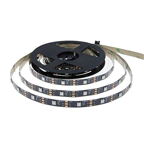 ALITOVE 16.4ft WS2812B Individually Addressable LED Pixel Strip 5m 150 LEDs 5050 SMD Black PCB Not Waterproof DC 5V for Christmas Home Garden Commercial Decoration