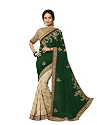 Aarti Latest Fashionable Party Wear Fancy Saree Bridal Embroidery Saree Wedding Wear Free Size - B00VRM6FH2