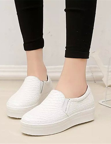 ZQ Scarpe Donna-Mocassini-Tempo libero / Casual / Scarpe comode-Creepers-Plateau-PU (Poliuretano)-Nero / Bianco / Borgogna , white-us7.5 / eu38 / uk5.5 / cn38 , white-us7.5 / eu38 / uk5.5 / cn38 burgundy-us6.5-7 / eu37 / uk4.5-5 / cn37