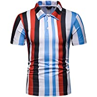 LuckyGirls Men\'s T-Shirt Short Sleeve Vertical Stripe Colorful Casual Top Blouse Fashion Sport Shirts (XL,Rojo)