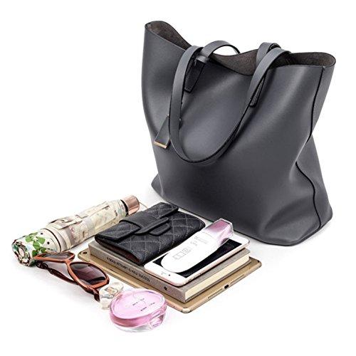 (2pcs) HeHe Borsa Tote a tracolla in pelle di PU Shopping Bag Grigio