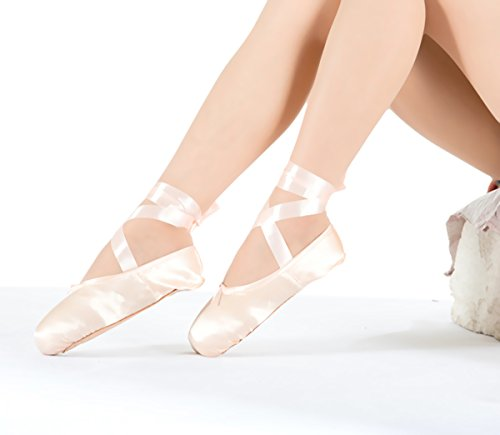 Girl's Red Pointe Shoes for Ballet Leather Sole with Free Gel Silicone Toe Pads and Ribbons
