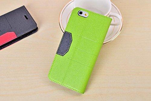 Schlank und dünn gemischte Farben glänzende funkelt Muster Magnetische Verschluss Horizontale Flip Stand PU Ledertasche Cover mit Kickstand & Card Slot für iPhone 6 & 6s ( Color : Red ) Green