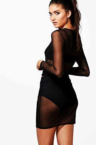 Nackt Damen Sia Zweiteiler Mit Bauchfreiem Top Aus Netzstoff Und Rock Nackt