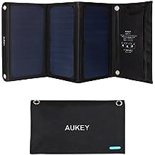 AUKEY Solar Ladegerät 21W mit 2 Ports USB Solarladegerät für iPhone 8/ 7/ 6s/ Plus, Samsung S8/ S8+, HTC, Handy und Tablet