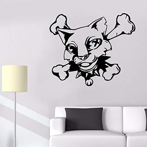 54 CM * 45,8 CM Lustige Katze Schädel Knochen Dekoration Wandaufkleber Aufkleber PVC Grafik - Schädel Knochen-grafik
