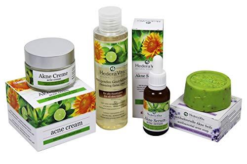 Hedera Vita Akne Kollektion mit 4 Produkten | Energisch gegen Akne, Pickel, Unreinheiten, Mitesser und fettige Haut | Akne Seife | Gesichtstonic | Akne Creme | handmade & Swiss Quality -