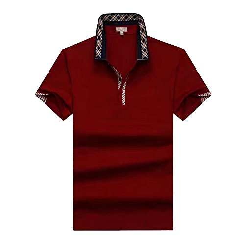 ECTIC Uomo Men's classic style Business Polo shirt Poloshirts Size M-XXXL B2141 Red
