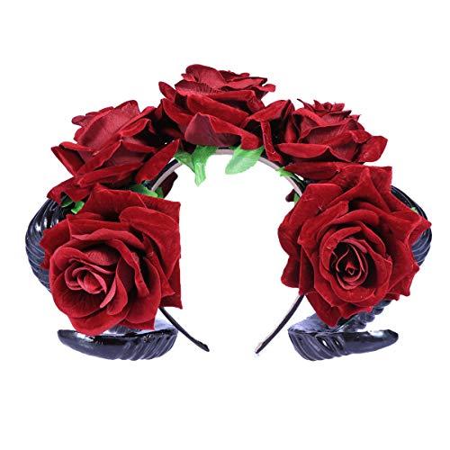 Frcolor Gótico Hair Garland Halloween Rose diadema de flores con ovejas Festival de cuerno Cosplay disfraces Tocado