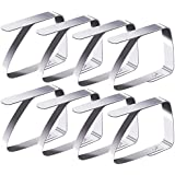 Pack of 8Blooven Stainless Steel Tablecloths Pegs Table Cover Clips, Tablecloth Clips, Tablecloth Clips, Restaurant, Wedding, Parties, Picnics etc–Silver