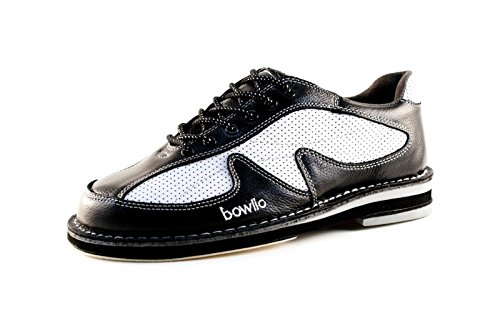 Bowlio Pro Series Storm - Bowlingschuhe aus Leder für Damen und Herren in Schwarz und Weiss, Größe:41