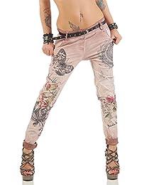 Zarmexx Femmes Pantalons Baggy Petit ami avec Un Jean Ceinture Pantalon  Legging Jeggings Chinos Papillon Glitter f1564e59cd9