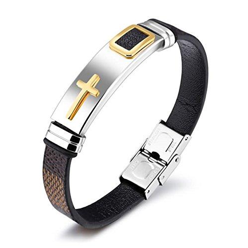 Bishilin gioielli uomini in silicone corda braccialetto croce oro con fibbia di acciaio inossidabile intrecciato cuff bracciale marrone, lunghezza 185 mm