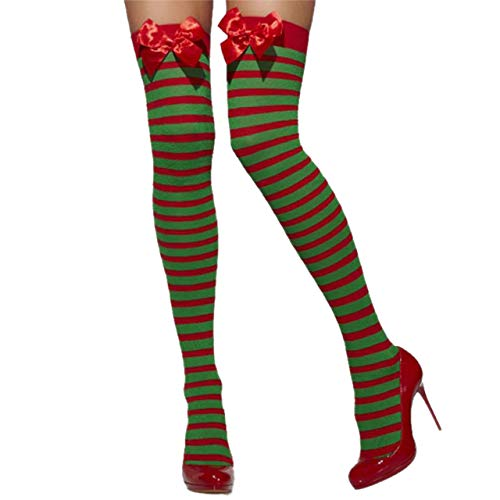 CHIC DIARY Overknee Kniestrümpfe Damen Strumpf Streifen Blutflecken/Fledermaus Motiv Party Cosplay Halloween Fasching Kostüm