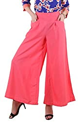 Ruhaans Womens Crepe Pink Color Palazzo (ZR_1049_M)