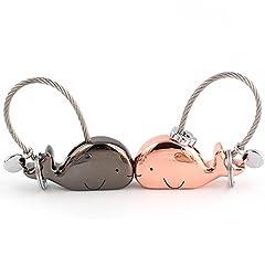 Idea Regalo - Joykey Portachiavi Amante 1 Pair balena Forma Portachiavi con Bocca Magnetica, regalo per Coppia Fidanzata, Lega di zinco,Nero lucido e oro rosa