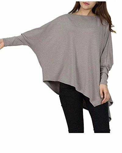 Auxo Damen Lose Asymmetrisch Batwing Langarm Langshirt Bluse Oberteile Oversize Tops Splitter