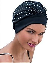 Mesdames Swim Bonnet de bain Turban Noir/Argent Paillettes Rock Chick Glamour