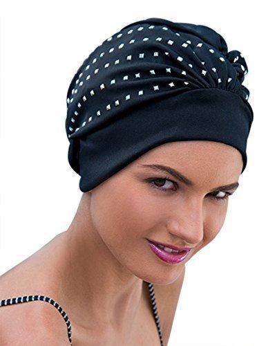 Fashy Damen Swim Turban Schwimmen Hut schwarz Silber Pailletten Rock Chick Glamorous -