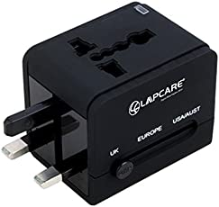 Tech Shop 100% Lapcare Universal USB Travel Charger Adapter, International Travel Adapter with USB - Black