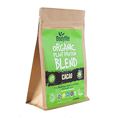 BodyMe Organic Vegan Protein Powder Blend | Raw Cacao | 250g | UNSWEETENED with 3 Plant Proteins