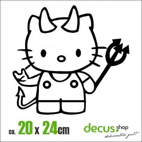 Decus Hello Kitty Teufel XL 1315 // Sticker OEM JDM Style Aufkleber (weiß) (Hello Kitty Auto Aufkleber Zubehör)