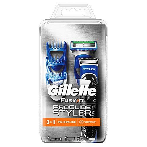 Gillette Fusion ProGlide Styler Rasoio Regolabarba 3 in 1, Regola, Rade e Rifinisce, Resistente All'Acqua, 3 Regolatori di Lunghezza Intercambiabili, 2 mm, 4 mm, 6 mm
