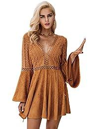 97522f2581b1 Missy Chilli Damen Kurz Kleid Elegant Langarm V-Ausschnitt Rückenfrei  Cusual Spitze Kleid mit Trompete