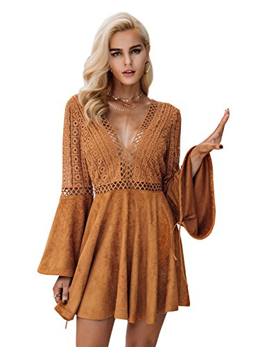 Missy Chilli Damen Kurz Kleid Elegant Langarm V-Ausschnitt Rückenfrei Cusual Spitze Kleid mit Trompete Ärmel (Spandex-v-neck Long Sleeve)