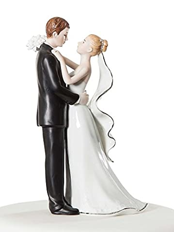 Wedding Collectibles Porcelain First Dance Bride And Groom White & Silver Wedding Cake Topper Top