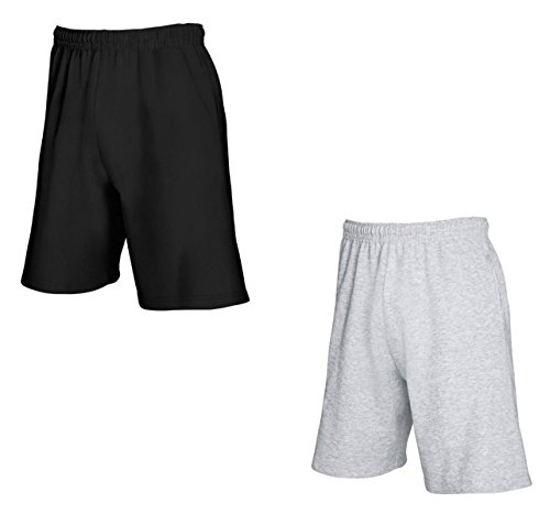 Fruit Of The Loom-hosen (2er-Pack Fruit of The Loom Herren Kurze Sporthosen Jogginghosen Lightweight Shorts (XL, Schwarz & Grau))